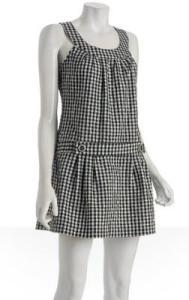 Parameter navy gingham belted sleeveless dress