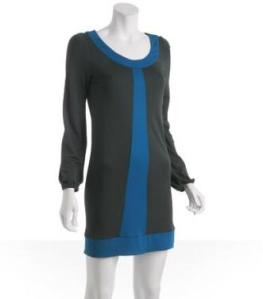 Stephen Burrows Steel Jersey Stripe Colorblock Dress